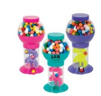 "9-3/4"" ASSORTED COLOR SPIRAL GUMBALL MACHINE"
