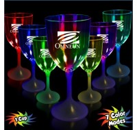 LIGHT UP WINE GLASS WITH WHITE STEM AND CLEAR TOP 10 OUNCE