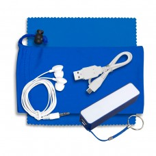 MOBILE TECH POWER BANK ACCESSORY KIT WITH EARBUDS IN MICROFIBER CINCH POUCH