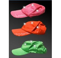 NEON SEQUIN LED BASEBALL CAP