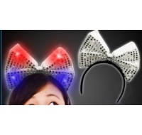 SILVER SEQUIN LIGHT UP BOW HEADBAND