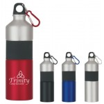 Sports Bottle with Rubber Grip and Carabiner  25 Oz. Two-Tone Aluminum