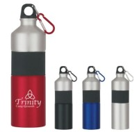 Two-Tone Aluminum Sports Bottle with Rubber Grip and Carabiner 25 Oz.
