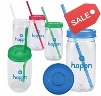 PLASTIC MASON JAR WITH LID AND STRAW 20 OZ.
